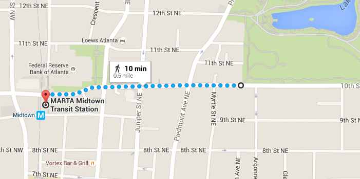 Walking directions from Mditown MARTA station to Piedmont Park