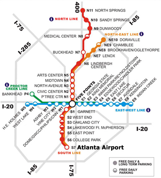 MARTA rail station and line map