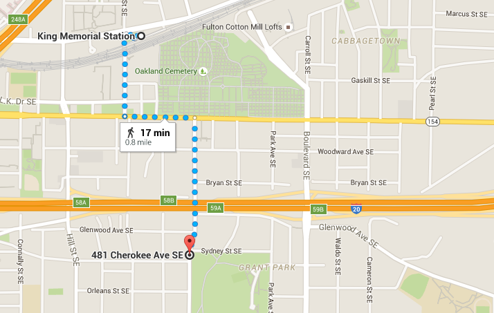 Walking directions to Grant Park from MARTA