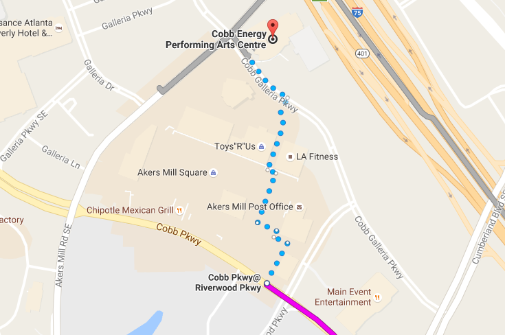 Walking Map to Cobb Energy Centre