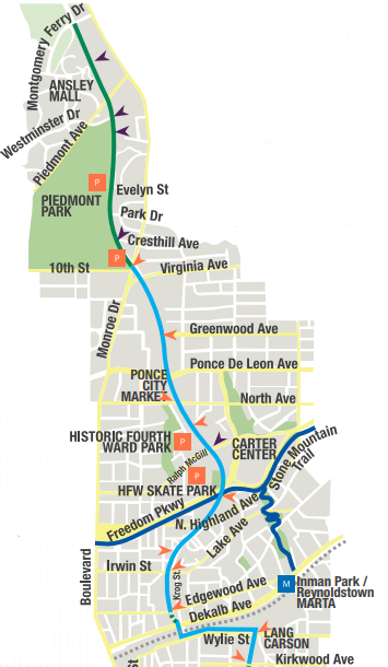 The Beltline Atlanta Map.Marta To The Beltline Eastside Trail Marta Guide