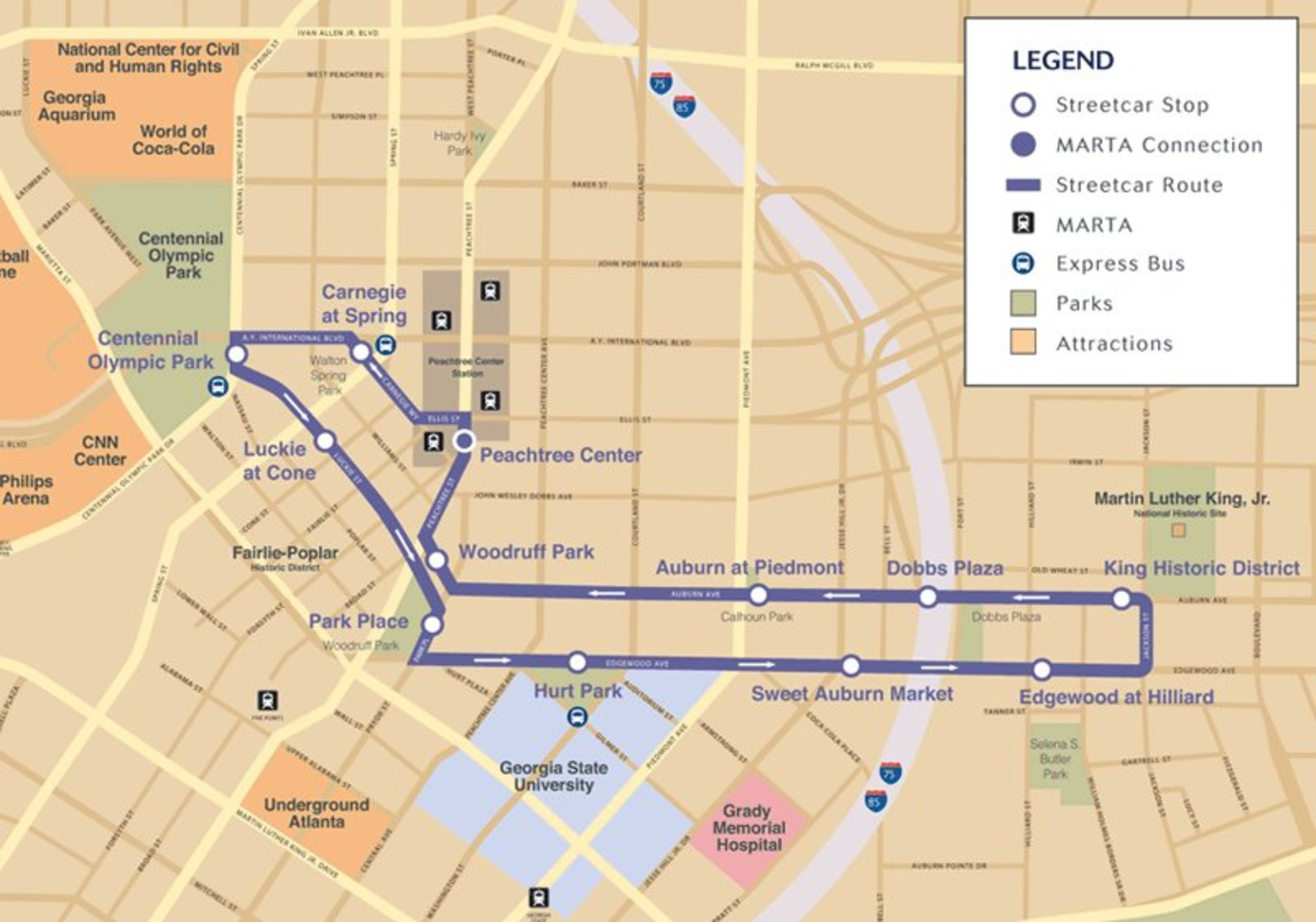 Atlanta streetcar map and destinations marta guide for Allart center
