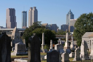 Oakland Cemetery with MARTA and skyline