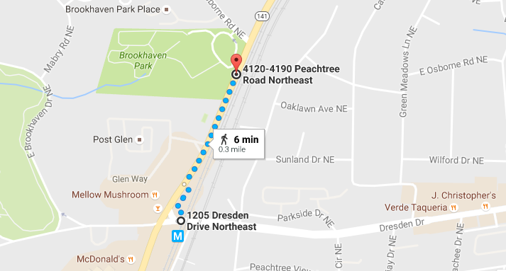 Walking directions to Brookhaven Park
