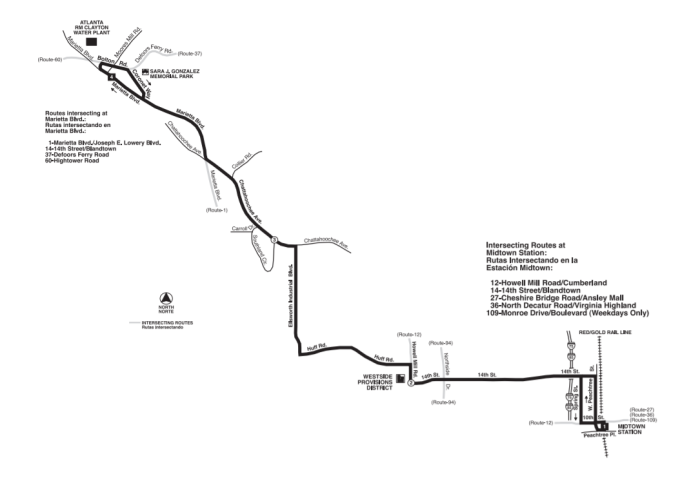 MARTA Bus 14 Route Map